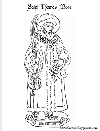 Saint Thomas More Catholic Coloring Page: Feast Day is