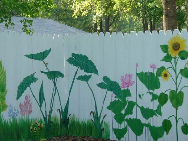 Fence Murals Of Wild Flowers Backyard Makeover Pinterest