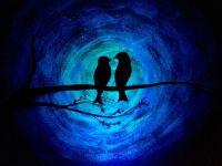 Glow in the Dark Love birds bird silhouette painting ...
