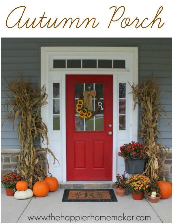 Autumn Porch with corn stalks, mums, and pumpkins