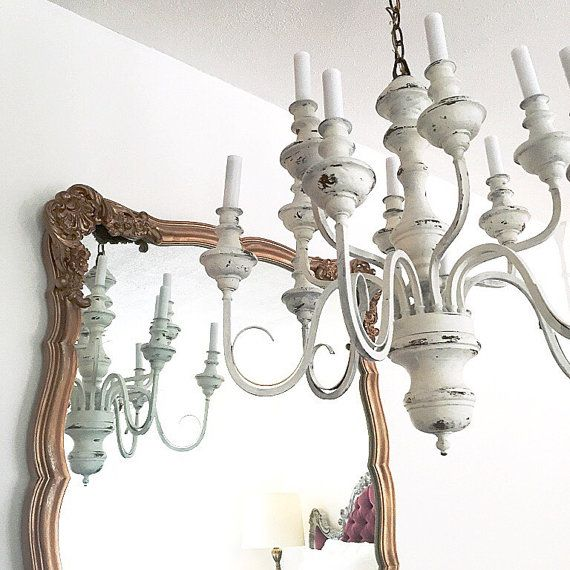 Paint Idea Tls White Distressed Chandelier Hanging Light Large Rustic Shabby Cottage Chic Diningroom Upcycled