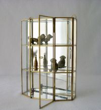 Vintage Glass and Brass Mirrored Cabinet, Wall Curio ...