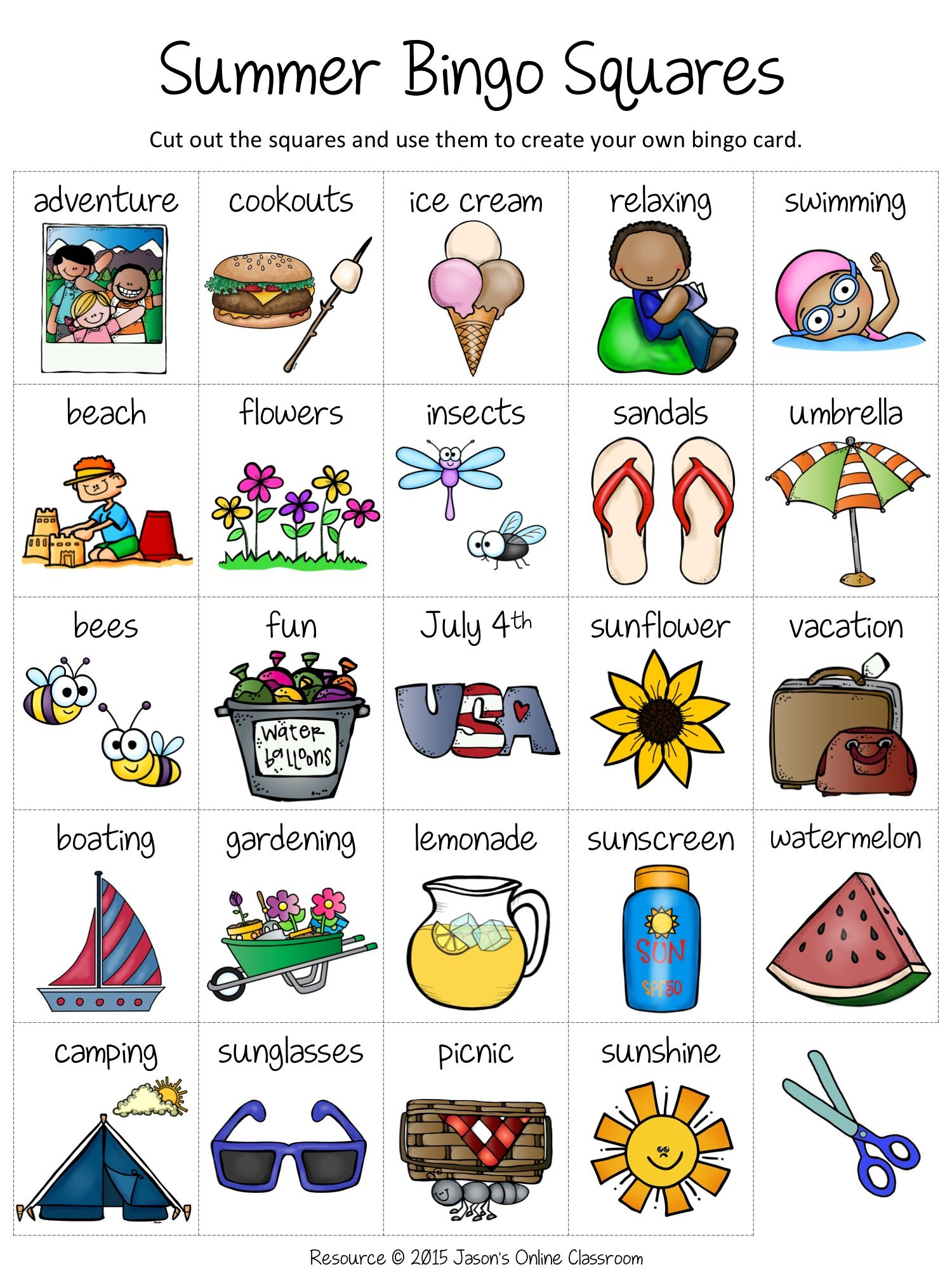Free Summer Create Your Own Luck Bingo Game