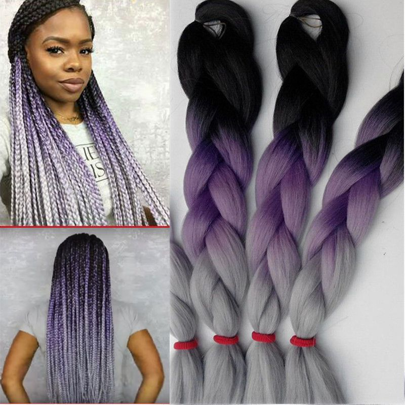 Cheapest Braiding Hair Black Purple Grey 100G 10Pcs