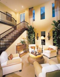 High Ceiling Vintage Yellow and White Home Interior Design ...