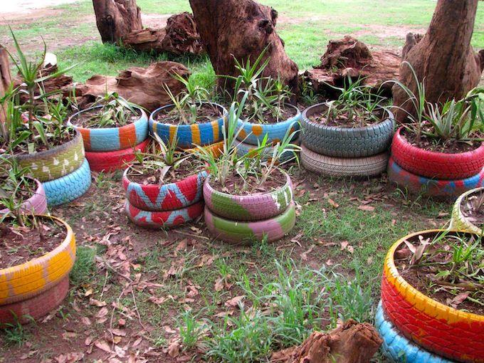 Create A Sensory Garden With Recycled Tires Reciclando