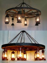 Wheel-n-Lantern Chandelier - Western Decor - Cabin Decor ...
