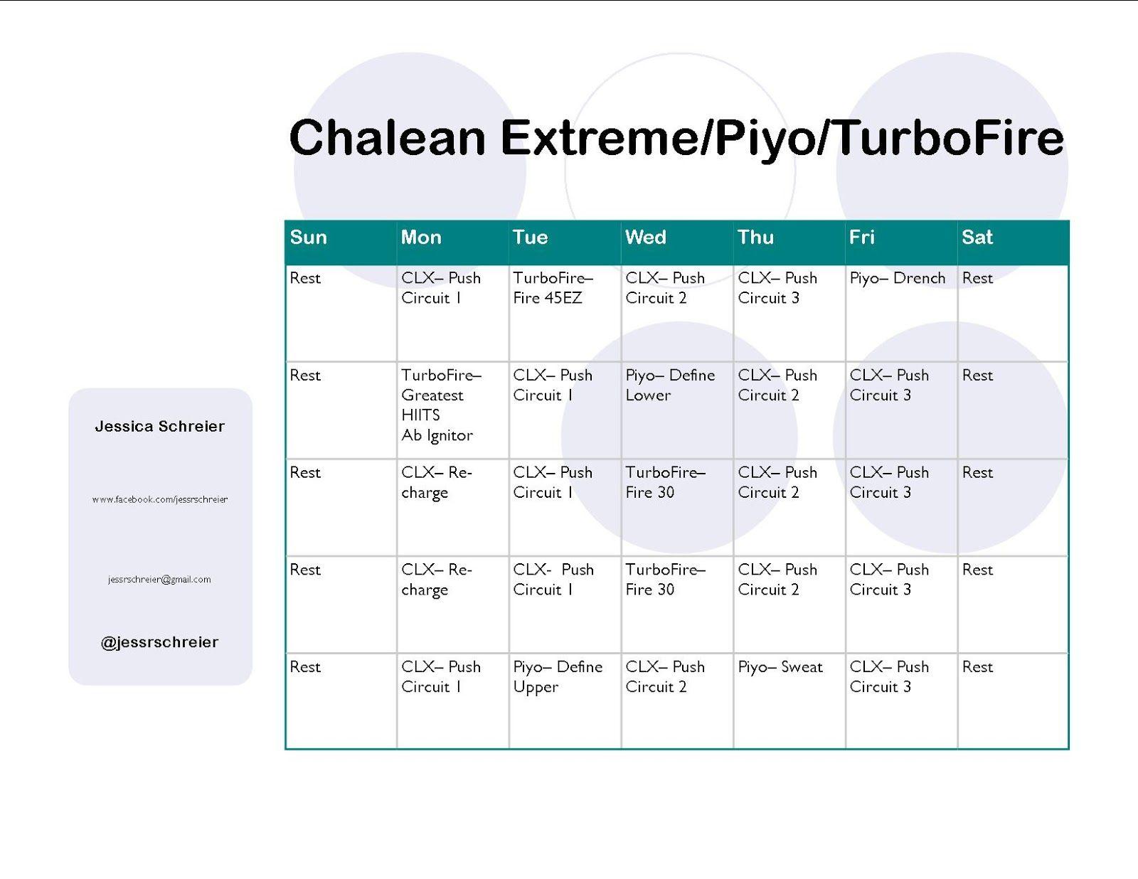 Chalean Extreme Turbofire Piyo Hybrid Schedule