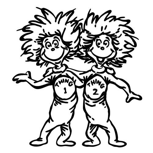 Thing 1 & Thing 2 vinyl wall sticker decal room decor by