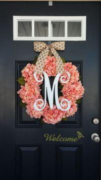 Spring Wreath, Hydrangea Wreath, Monogram Wreath, Summer ...
