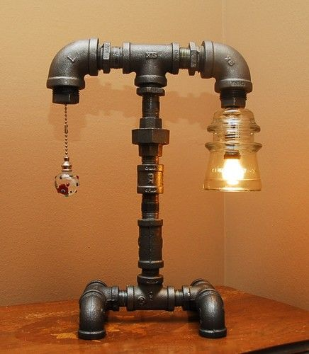 Industrial Style Pipe Lamp with Clear Glass Insulator and
