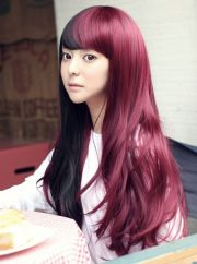 black and purple two-tone wig