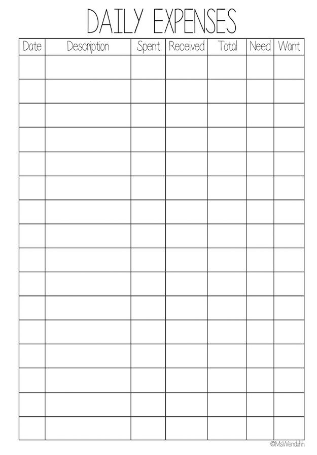 daily expense worksheet