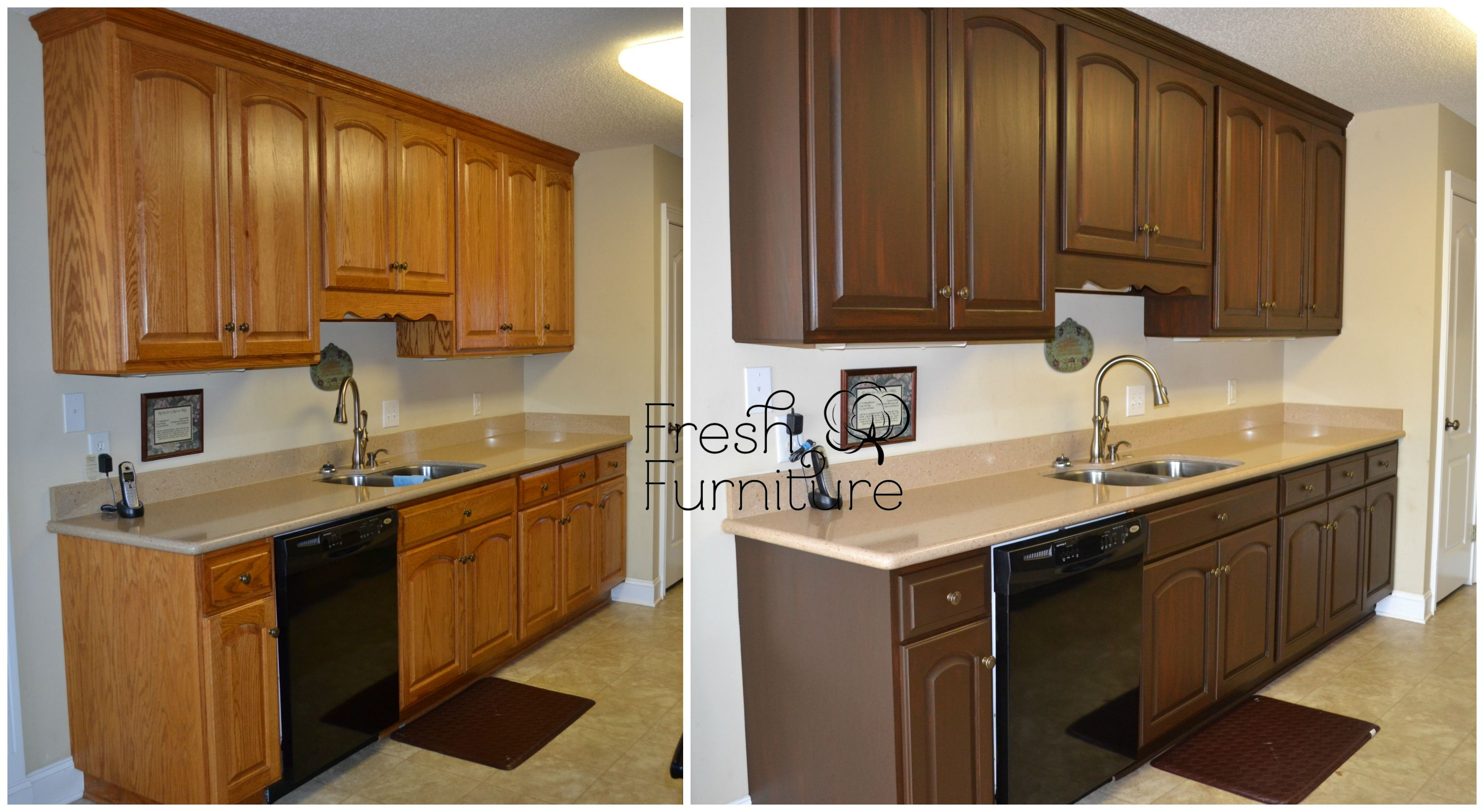 best wood stain for kitchen cabinets delta touchless faucet oak cabinet makeover with general finishes antique walnut