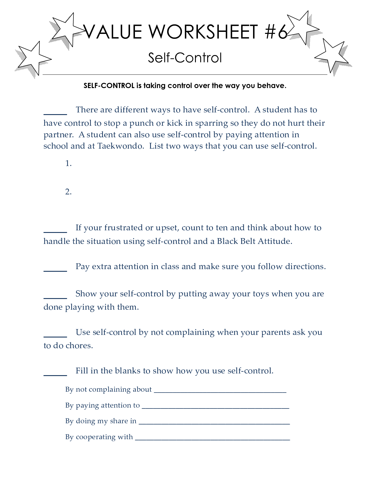 Worksheet Self Control Worksheets Grass Fedjp Worksheet
