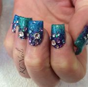 teal blue and purple acrylic