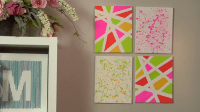 Make a Splatter Paint Wall Decor. Do this on wall squares