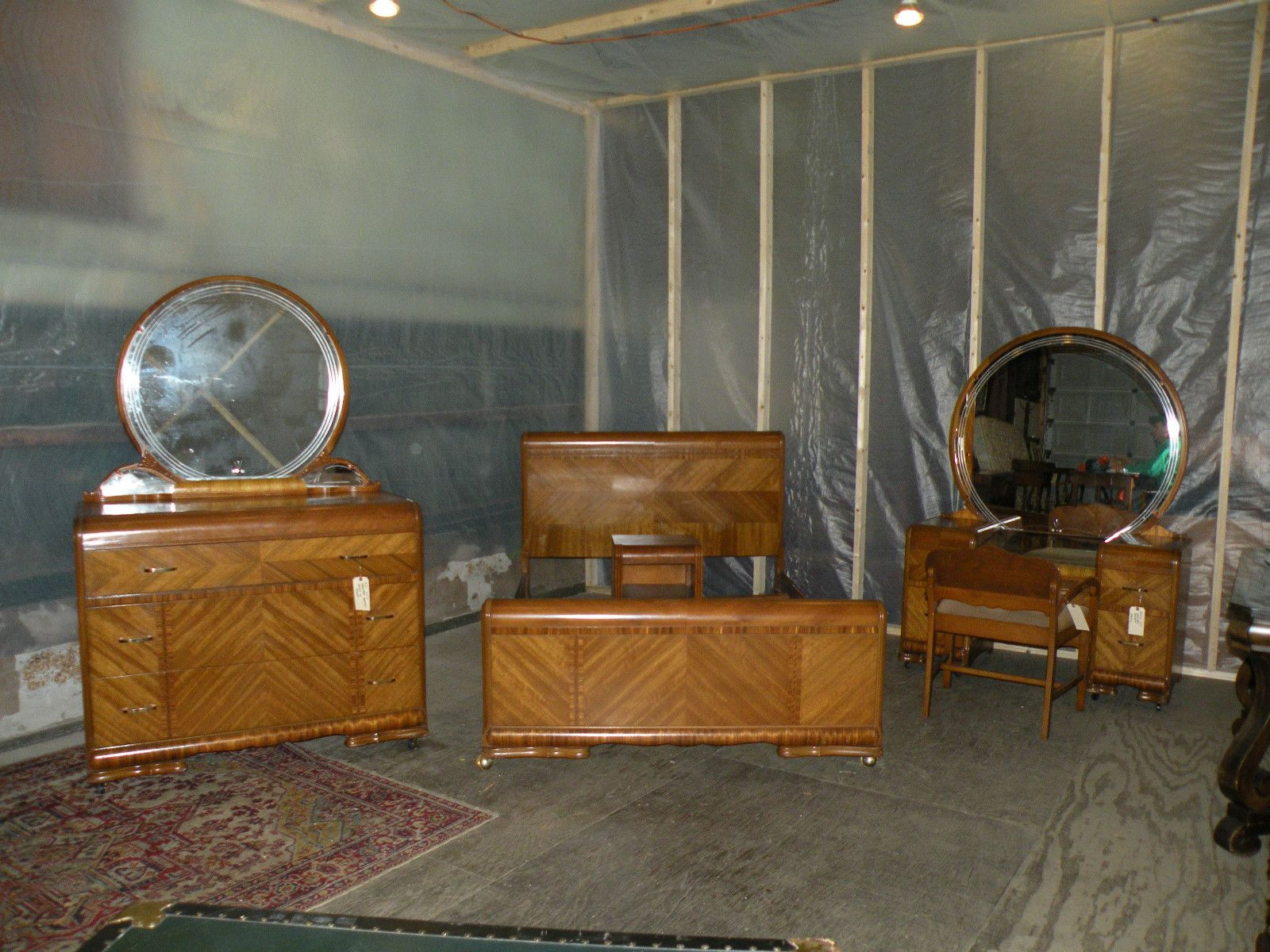 beautiful! antique art deco waterfall furniture bedroom set full