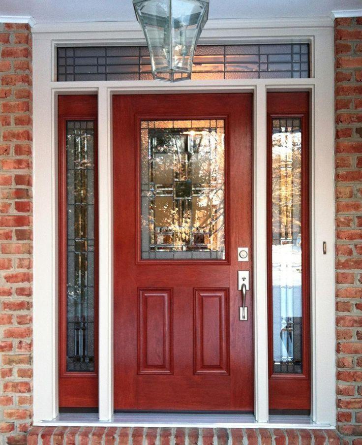distressed red front door