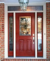distressed red front door