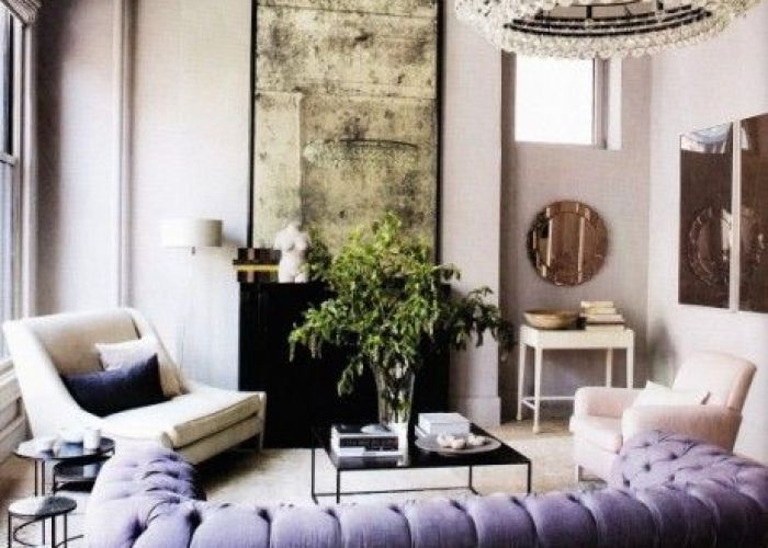 Luxury lavender tufted sofa aged mirror interior design living room decorating before and after also purple couch pinterest beautiful sofas
