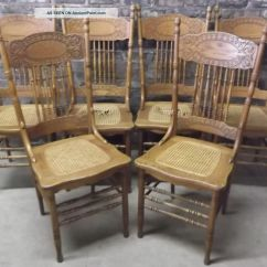 Antique Cane Seat Dining Chairs Club With Ottoman Set Of 6 C1900 Victorian Press Back Oak