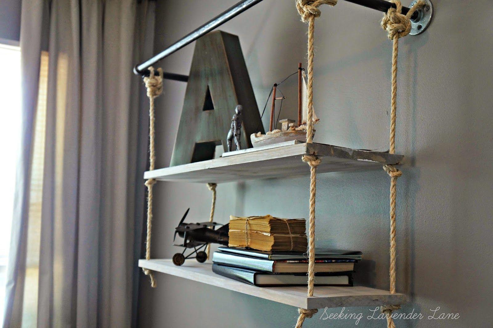 hanging chair restoration hardware wooden rocking rh baby rope shelf knock off wall decor ideas