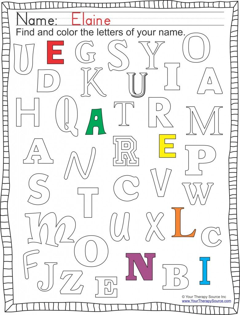 FInd and Color Letters of Your Name from http