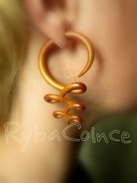 Fake ear gauges Faux gauges /Gauge earrings /spiral by