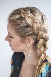 Long side braided hairstyle for medium length thick hair ...