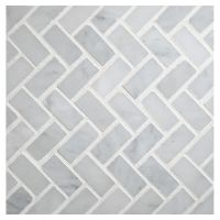 Herringbone Mosaic Tile | Polished White Carrara Marble ...