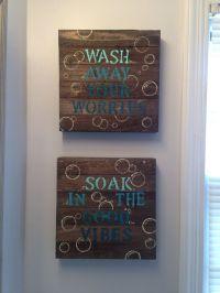 Blue DIY bathroom wall decor. $10 wood canvas from Walmart