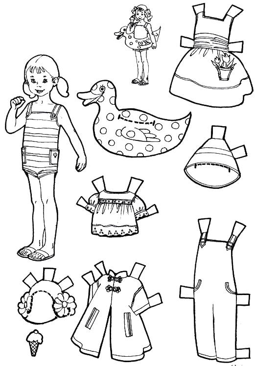 Vacation Paper Dolls to Color and Cut Out- boy and girl