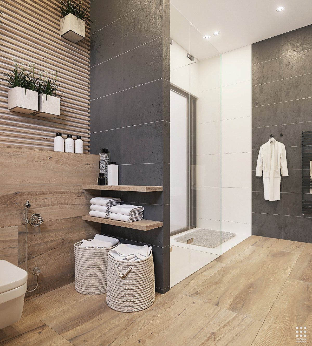 Wood And Dark Grey Bathroom Tiles  Bathroom Designs  Pinterest  Dark gray bathroom Grey