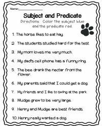 Subject and Predicate Worksheet | english grammar | Pinterest