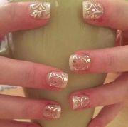 gold swirls french manicure easy
