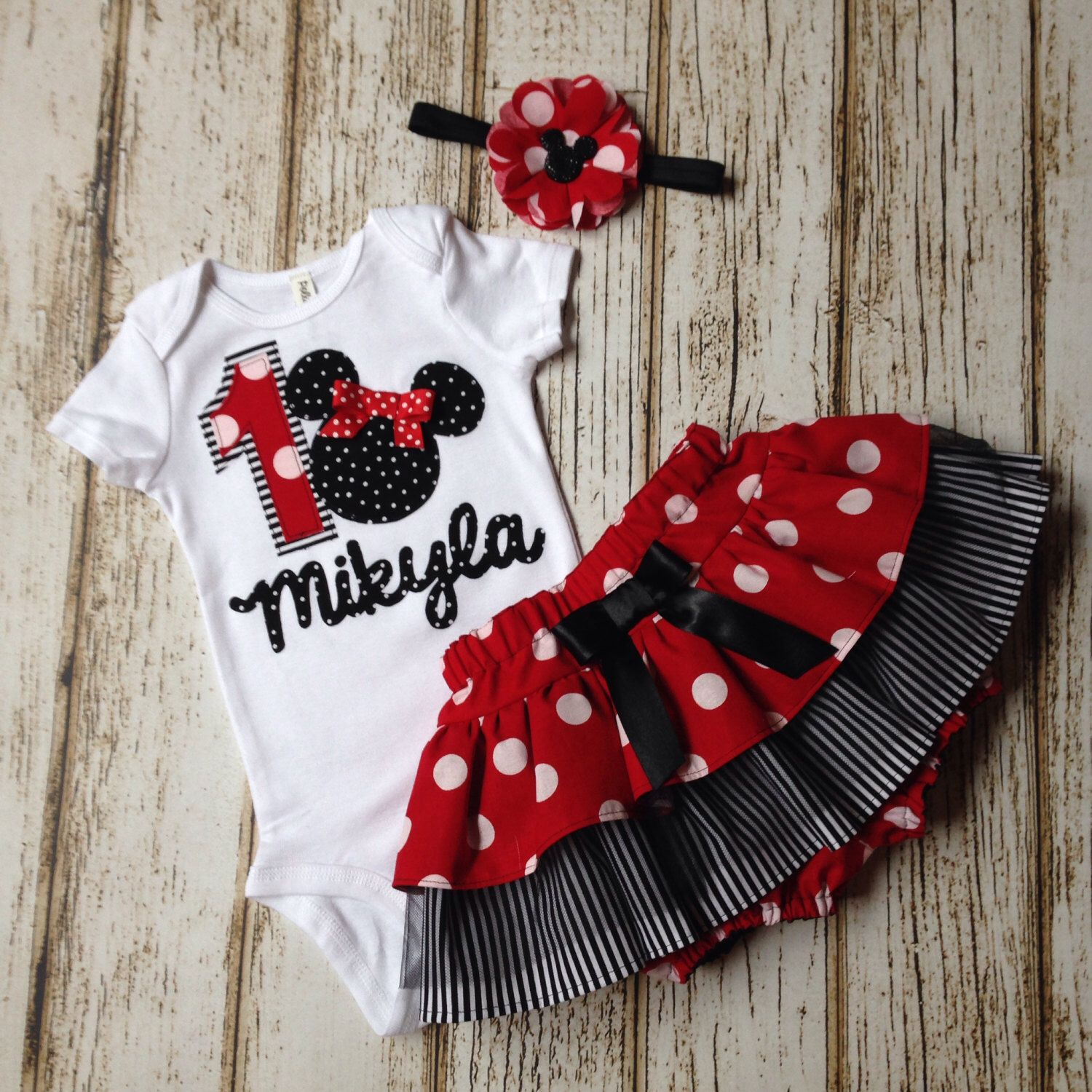 Minnie Mouse Red White And Black Name Onesie With Skirt