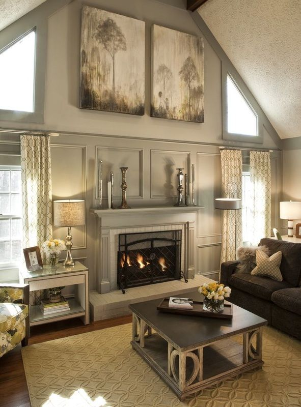 Mantle decor and canvas stunning living room vaulted cathedral ceiling also windows around fireplace better one day aka my mansion rh pinterest