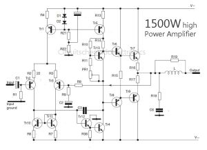 1500 Watt high power amplifier  Amp Circuit Diagram