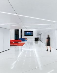 Studios architecture outfitted the main reception area at sony   headquarters in new york with seating by rene holten designer also composes  perfect harmony us rh pinterest