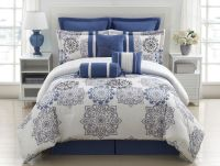 9 Piece Queen Kasbah Blue and Gray Comforter Set | Grey ...