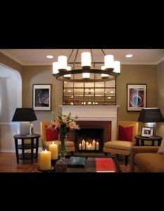 Contemporary fireplace design ideas for classic theme romantic chandelier natural red brick brown sofa glass vase black sitting lamp also cozy home decor pinterest interiors and rh za