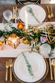 Rustic Table Setting Decor With Copper And Greenery