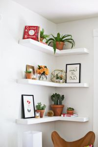 White Solid Wood Corner Living Room Floating Shelves ...