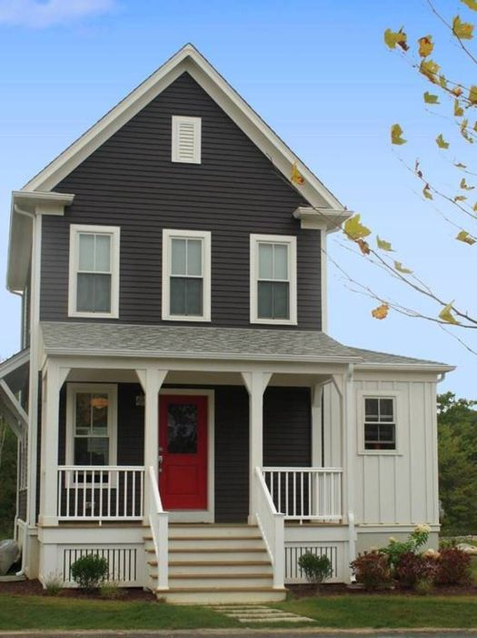 Delightful Gray House Exterior Paint Idea With White Window Frames Red Door And Barade Beautiful Ideas
