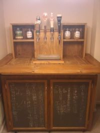 Homemade kegerator with built in chalkboard storage doors ...