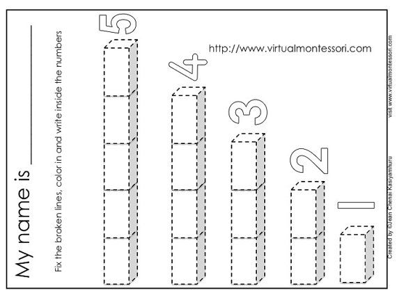 Number Rods Worksheets 1 5 by Montessoridownloads on Etsy