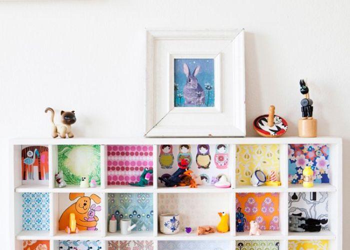 Would also make cute wallpaper for  diy bookshelf dollhouse kids room shelving splash of color transform plain shelves with scrapbooking colorful creations pinterest paper
