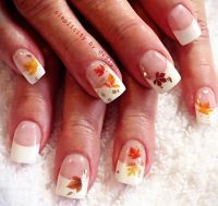 leaves applique classic french fall nails | Fingers and ...