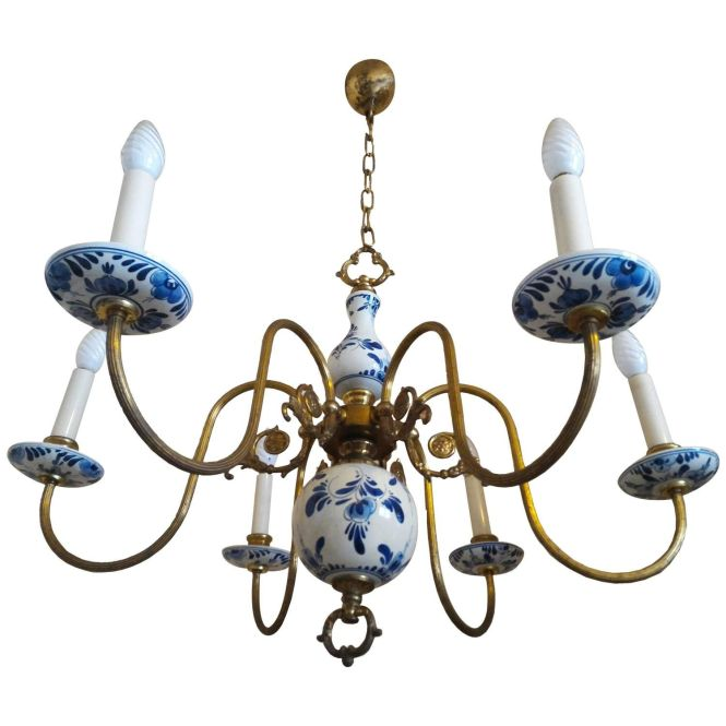 Charming French Provincial Chandelier In Faience De Rouen